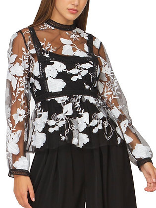 Floral Print Sheer Black and White Top