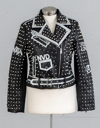 Faux Leather Studded Jacket Black