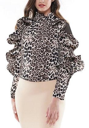 Leopard Ruffle Print Sheer Shoulder Top