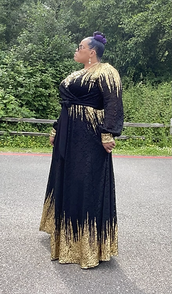 Black Lace Dress With Gold Explosive Metallic Drippings