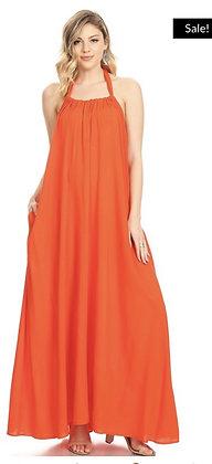 Sleeveless V-Neck Maxi Halter Dress Orange Onesized