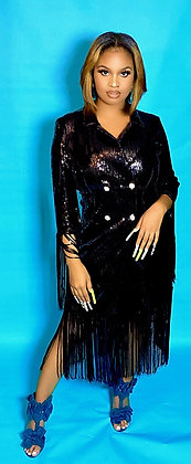 The Black Sequin Double Tassel Button Down Dress