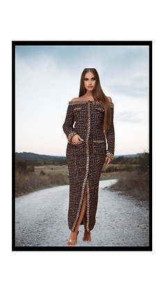 Chunky Gold Chain Trim Tweed off-the-Shoulder Maxi Dress