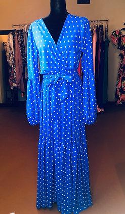 Polka Dot Print Maxi Dress Blue