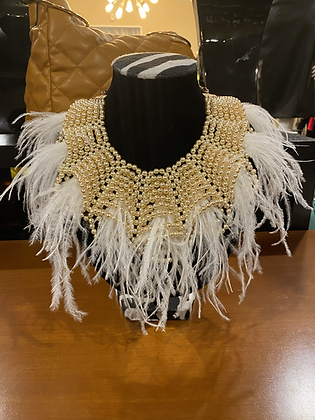 Feather Pearl Bib Necklace