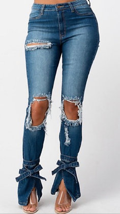 Bottom Tie Distressed Jeans