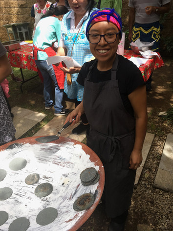 making tortillas on the comal