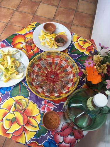 mezcal with orange slices and sal de gusano