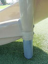 Side view of filled gap on slide