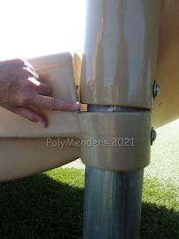 Side view of a large finger gap on slide.