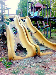 Broken playground double slide