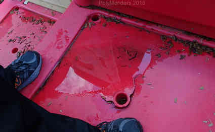 Red Steps cracked around drain tube