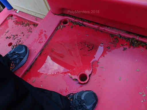 Red Steps cracked around drain tube