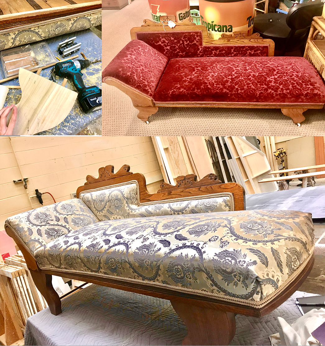 Chaise reupholstery and replaced the legs
