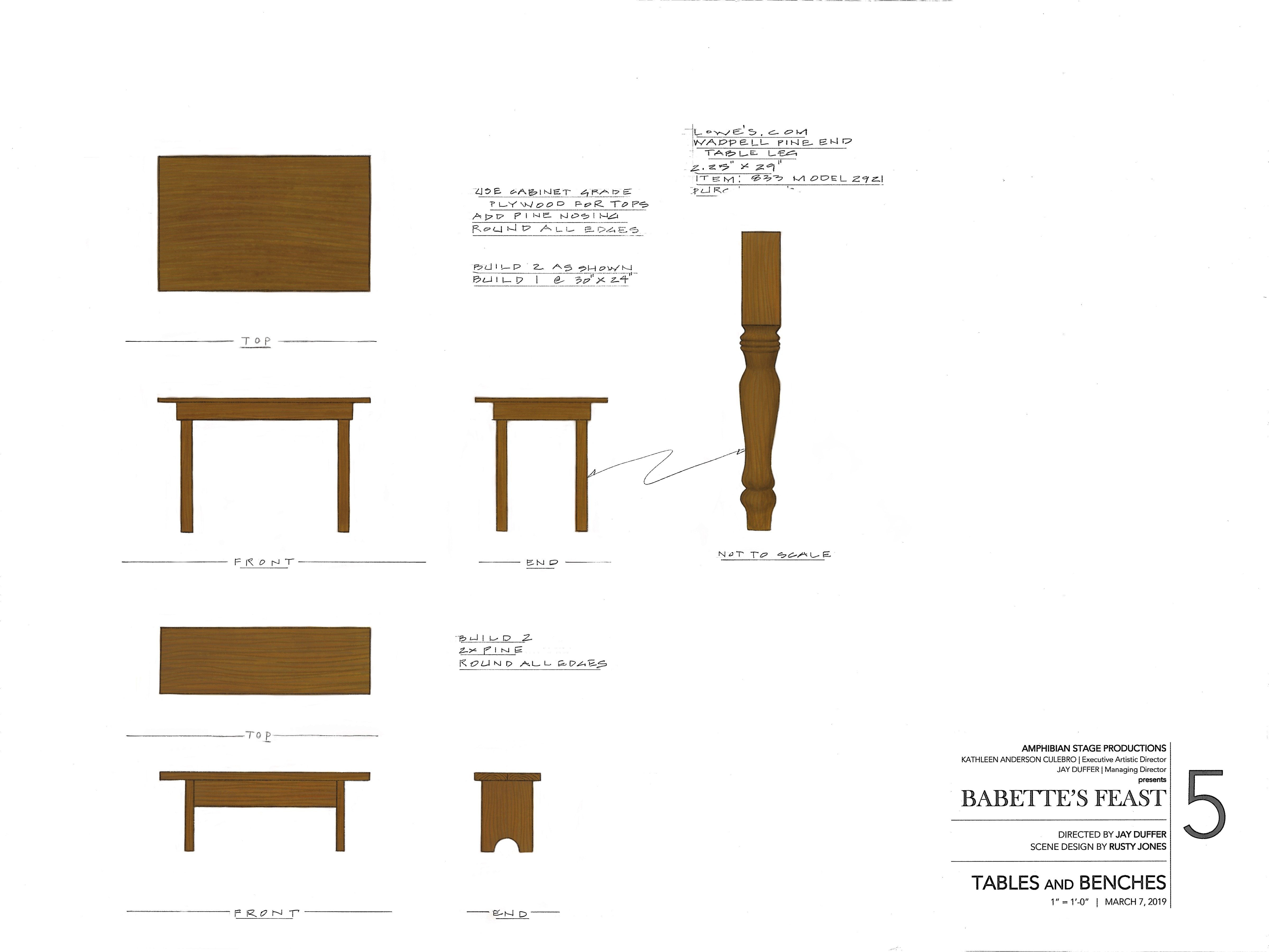 Painter Elevation of Table & Bench