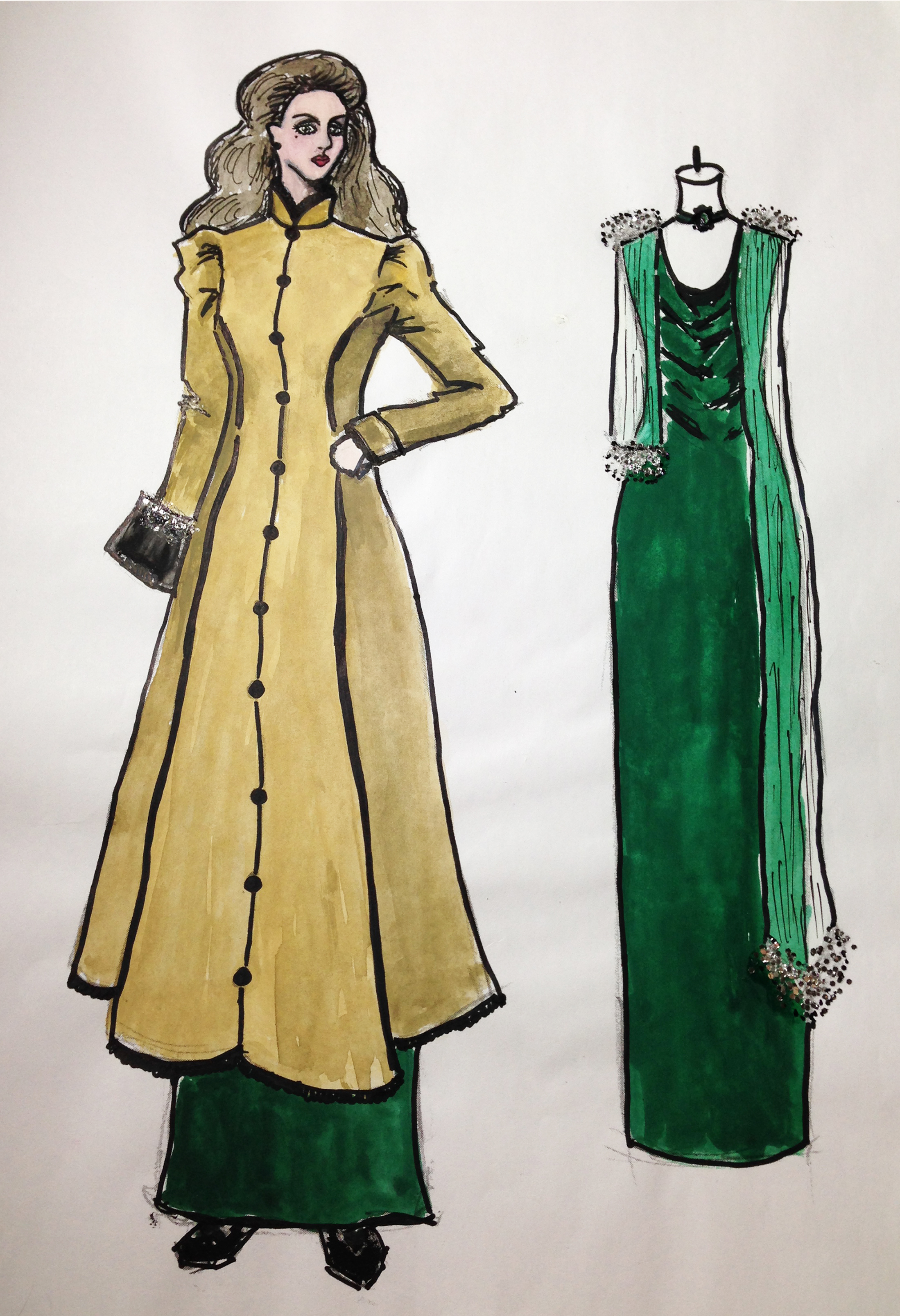 Coat and Green dress for Madame