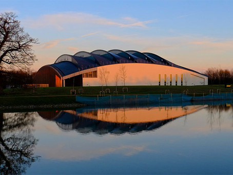 Zinc pre-weathered roofing at Cambridge University Sports Hall