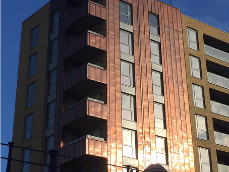 Copper cladding at Limehouse Lock