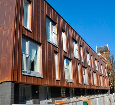 Copper cladding at Claredale Street, Bethnal Green