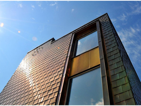Copper cladding at Orchard Primary School, Hackney