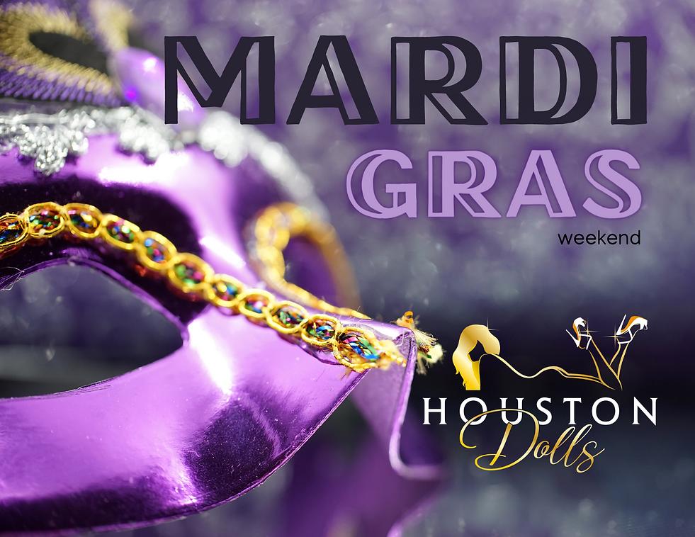 Mardi Grass event at Houston Dolls