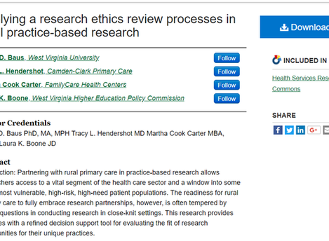 WVACHS publishes paper on ethical considerations in rural practice-based research