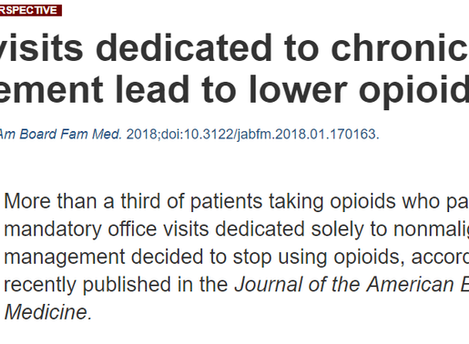 "Article: ""Office visits dedicated to chronic pain management lead to lower opioid use"""