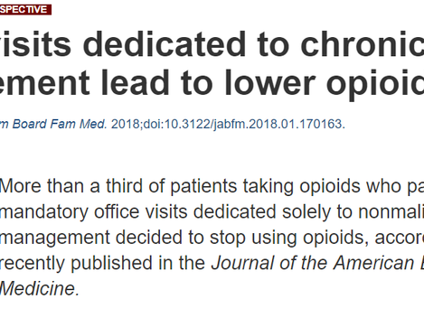"""Article: """"Office visits dedicated to chronic pain management lead to lower opioid use"""""""