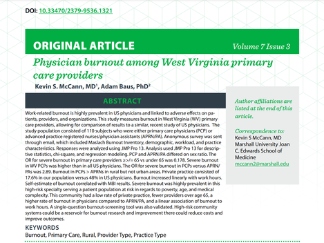 """Article available! """"Physician burnout among West Virginia primary care providers"""""""