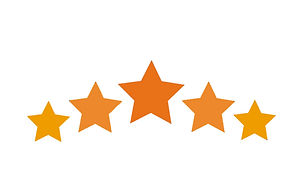 Ilustração com cinco estrelas em tons de laranja