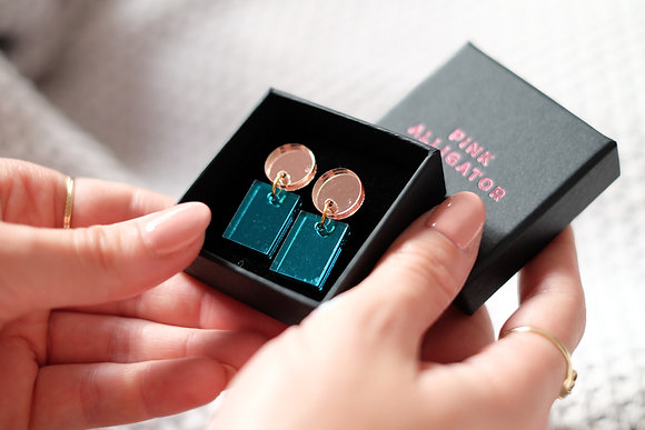 Teal and Rose Gold Rectangles