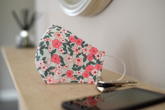 Pink and Green Floral Face Mask