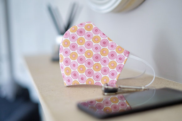 Pink Fan Print Face Mask