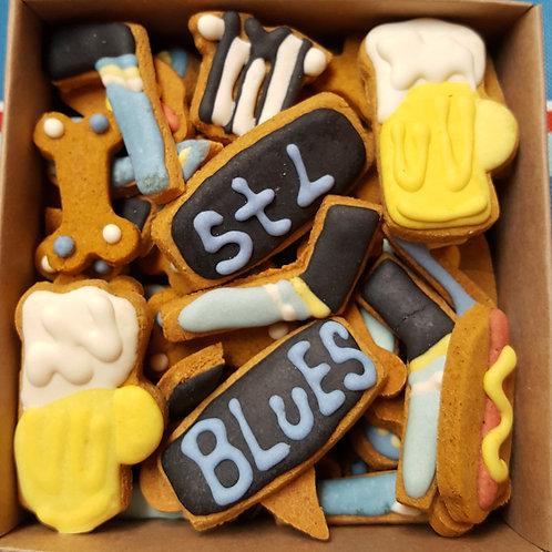 Blues Hockey Mini Bone Box - Pumpkin/Peanut Butter