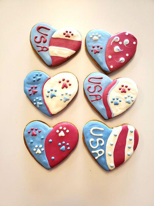 Red White & Blue Hearts - Organic Pumpkin & Peanut Butter