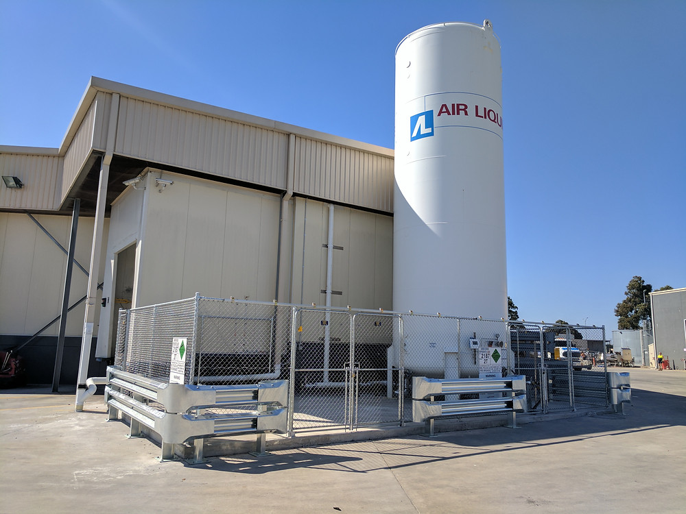 Newly installed 60 tonne CO2 vessel pad & tank