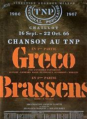 44. AFFICHE 5 TNP 1966 Gréco Brassens -
