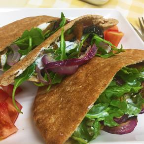 Dominex Eggplant Cutlet Pita Sandwich with Garlic Yogurt Spread