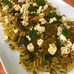 Eggplant, Garlic & Feta Pasta