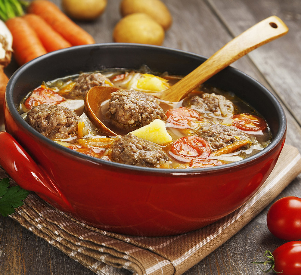 Eggplant Meatball Soup
