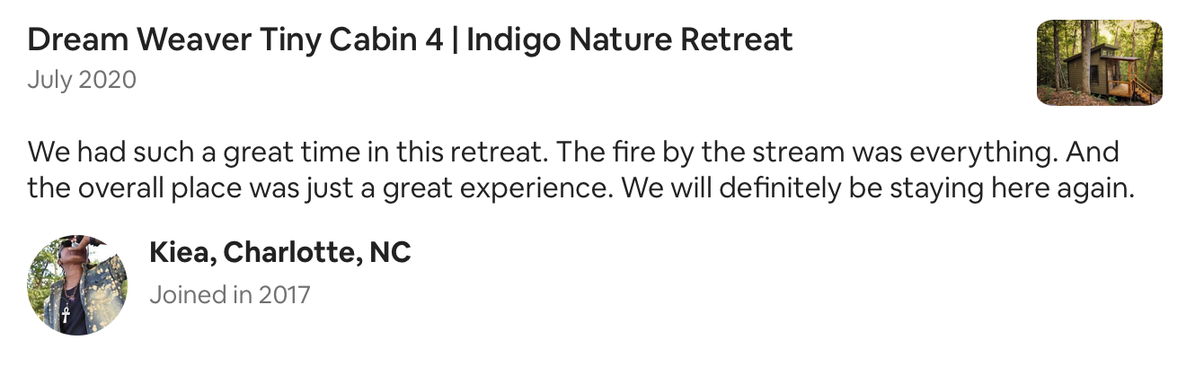 retreat near stream