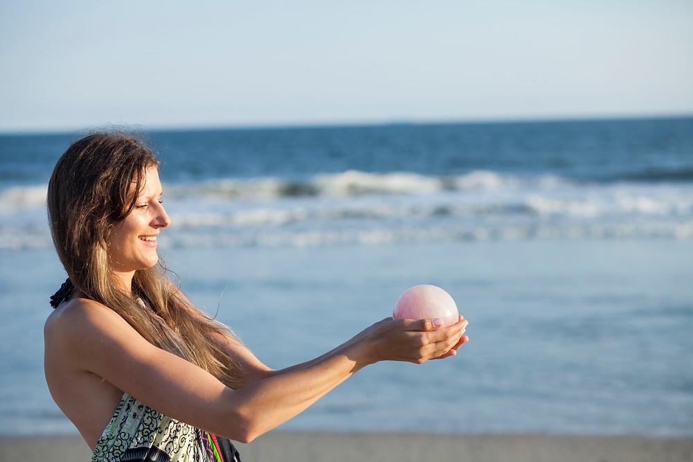 Rose Quartz Sphere & the Beach