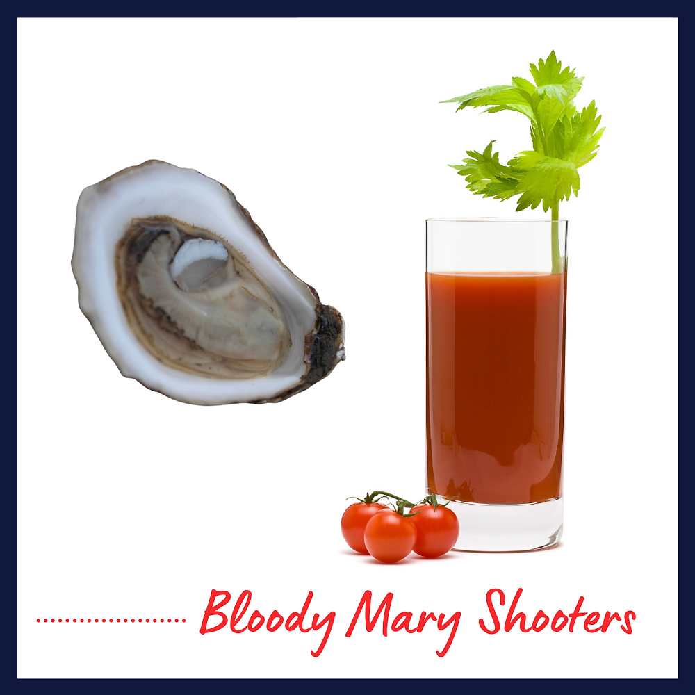 Bloody Mary shooters with oysters