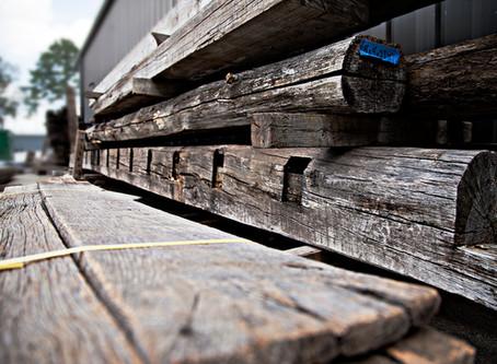 Reclaimed Oak Barnwood and Antique Heart Pine Beams