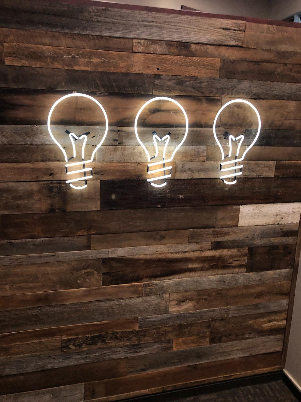 Barnwood Wall with Lightbulbs