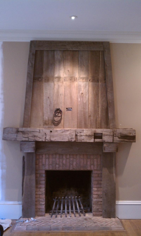 Timber and barnwood mantel