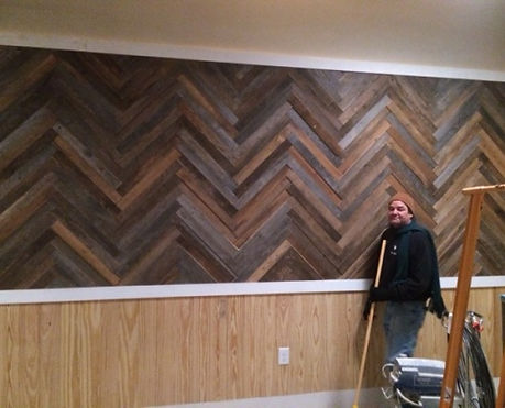 We Install - Cypress Barnwood wall