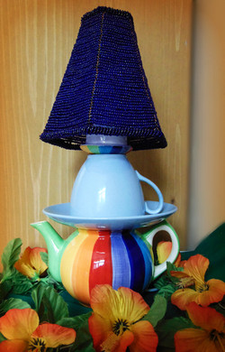 **SOLD**Lamp Multi with beaded shade