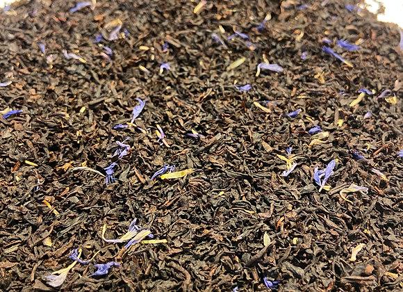Bergamote et fleurs bleues