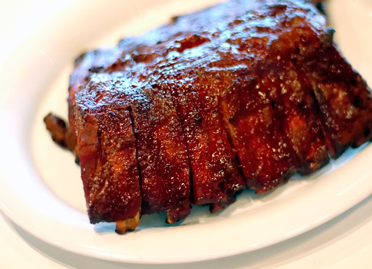 A rack of  BBQ ribs